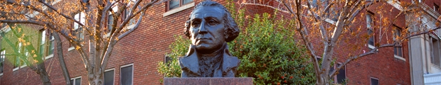 "Bust of George Washington that says ""The George Washington University"""